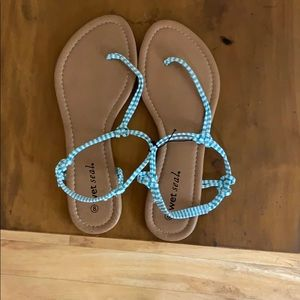 Turquoise and white summer sandals